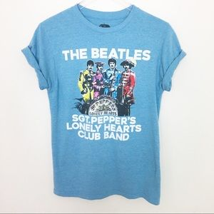 The Beatles Blue Graphic Band Tee